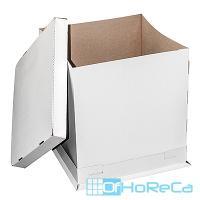 Коробка для торта ДхШхВ 460х460х500 мм до 5 кг квадратная КАРТОН БЕЛЫЙ 1/20