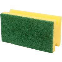 Губка для мытья посуды профилированная ДхШ 130х70 мм с зеленым абразивом ДЛИННАЯ ПОРОЛОН ЖЕЛТАЯ ВХ 1/600