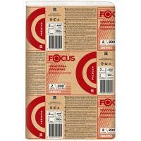 Полотенце бумажное листовое 2-сл 200 лист/уп 215х240 мм Z-сложения FOCUS EXTRA БЕЛОЕ HAYAT 1/20