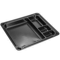 Упаковка для суши ДхШхВ 182х160х19 мм без крышки 4-секционная прямоугольная PS ЧЕРНАЯ К 1/900