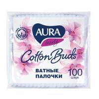 Палочки ватные 100 шт/уп AURA в мягкой упаковке KK 1/120