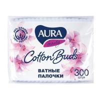 Палочки ватные 300 шт/уп AURA в мягкой упаковке KK 1/36