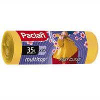 Мешок (пакет) мусорный 35л 20 шт/рул 15 мкм с завязками AROMA MULTITOP ЖЕЛТЫЙ PACLAN 1/20