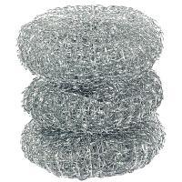 Губка (мочалка) для мытья посуды металлическая D70 мм 3 шт/уп 11 г МЕТАЛЛ PAPSTAR 1/80