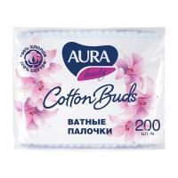 Палочки ватные 200 шт/уп AURA в мягкой упаковке KK 1/48