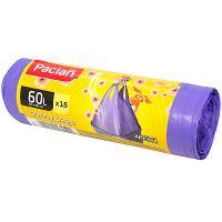 Мешки (пакеты) для мусора 60л 15 шт/рул 15 мкм с ручками AROMA HANDY СИРЕНЕВЫЙ PACLAN 1/24