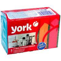 Губка для мытья посуды универсальная ДхШ 100х70 мм 5 шт/уп с зеленым абразивом MAXI ПОРОЛОН YORK 1/50