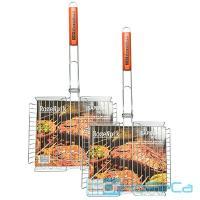 Решетка-гриль универсальная 410х320 мм глубина 50 мм хромированная с деревянной ручкой 1/1