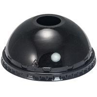 Крышка купольная D95 мм с отверстием для соломки PET ЧЕРНАЯ VGO 1/100/800