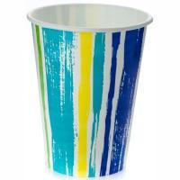Стакан бумажный 300мл D90 мл 1-сл для холодных напитков ПОЛОСКИ PPS 1/50/1000