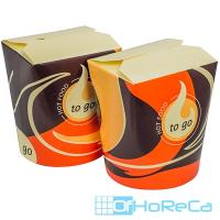 Контейнер бумажный CHINA PACK   550мл Н100хD85 мм с декором TO GO   ''PAPSTAR''   1/50/500