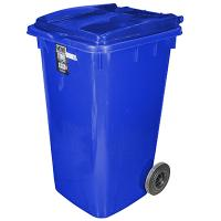 Бак мусорный прямоугольный 240л ДхШхВ 730х580х1050 мм на колесах ПЛАСТИК СИНИЙ BORA 1/3