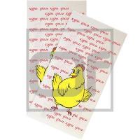Пакет бумажный   ДхШхВ 200х100х340 мм ламинированный с печатью КУРЫ ГРИЛЬ с плоским дном БЕЛЫЙ   1/1000